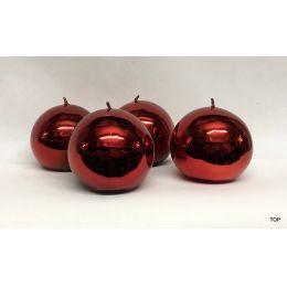 Kerzen Kugelkerzen 6,2 cm Durchmesser glänzend Farbe Rot 4er Set