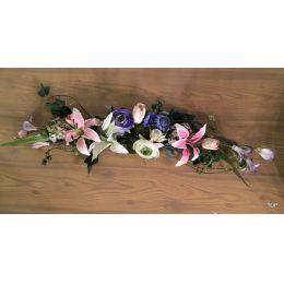 Kunstblumengesteck künstliche Blumendekoration Tischgesteck Blumengesteck lila / weiß Lilien Ranunkeln