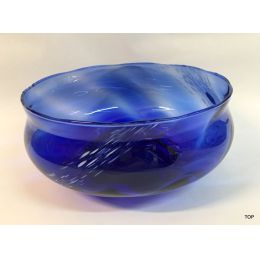 Schale Glasschale mit Struktur leicht weiß geflammt