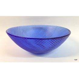 Schale Glasschale mit Wellenmuster Rund leicht weiß geflammt Farbe Blau