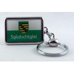Schlüsselanhänger Sachsen Sglatschtglei massives Metall 3D Ostprodukt Ossi Spruch