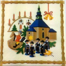 Servietten Weihnachtsdekoration Lunchservietten Traditionelles erzgebirgisches Design 1 Packung 20 St.
