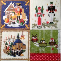 Servietten Weihnachtsmotive 1 Packung (20 Servietten), 1/4 gefalzt Home Fashion 4 Motive