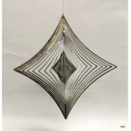 Spirale Edelstahl Hochglanz poliert Windspiel Quadratform Rostfrei Höhe 21 cm