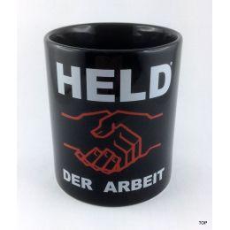 Tasse Held der Arbeit Kaffeetasse schwarz Porzellan Deko witzige sächsische Sprüche Neu!!!