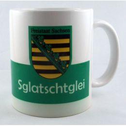 Tasse Sglatschtglei Kaffeetasse Sachsen Porzellan Deko Ostprodukt Ossi