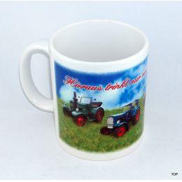 Tasse Traktor-Liebhaber mit vier Traktoren Kaffeetasse Kaffeebecher Keramik Neu!!