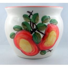 Übertopf mit früchtedesign Motiven glasiert bauchige Form für jeden Wohnbereich