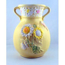 Vase mit Henkel Keramik verziert Geschenkidee Dekoartikel pastellfarbig Wohnbereich