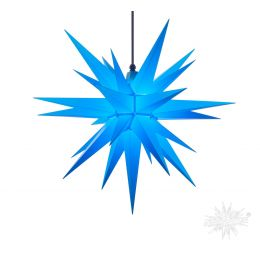 Original Herrnhuter Stern A7 aus Kunststoff für die Außen- und Innenverwendung, blau