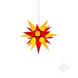 Original Herrnhuter Stern i4 aus Papier für die Innenverwendung, gelb und rot
