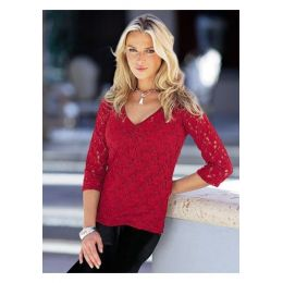 Spitzen-Shirt Together, 36, farbe rot