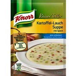 Knorr Kaiser Teller Kartoffel Lauch Suppe mit Speck