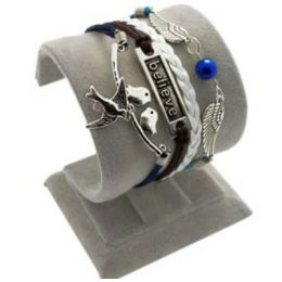 """Armband """"Glaube"""" mit Friedenstaube, weiss/schwarz/blau"""