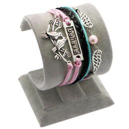 "Armband ""Glaube"" mit Tauben, rosa/schwarz/blau"