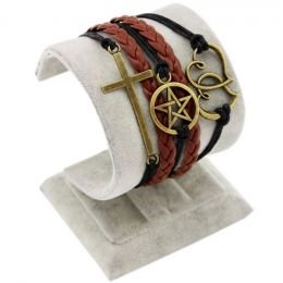 """Armband """"Glaube, Frieden, Hoffnung"""" braun/schwarz/bronze"""