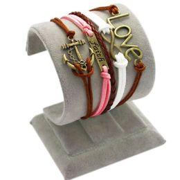 "Armband ""Glaube, Liebe, Hoffnung"" braun/rosa/weiss"