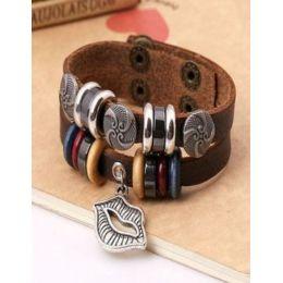 """Armband """"Kussmund"""" Leder braun"""