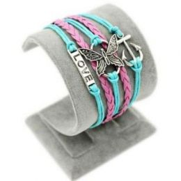 """Armband """"Liebe"""" mit Anker und Schmetterling, türkis/rosa"""