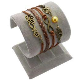 """Armband """"Liebe"""" mit Eulen, braun"""