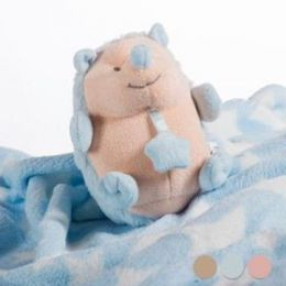 Babydecke mit Kuscheltier, blau