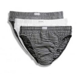 Herrenslips (3er Pack) Grey Marl + Black Stripo + White L