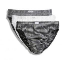 Herrenslips (3er Pack) Grey Marl + Black Stripo + White M