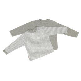Pullover grau+gestreift 74/80, 2er Pack