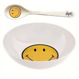 Smiley Frühstücksset weiss, 2 Sets