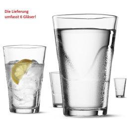 6 Gläser je 0,3 Liter Glas Trinkglas Trinkgläser Set 6-teilig Wasserglas Wassergläser