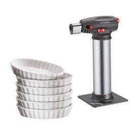 Crème Brûlée Set Gas-Brenner Gasbrenner Schälchen Schalen Gas Brenner Creme Brulee
