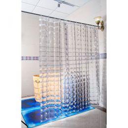 Duschvorhang 3D-Effekt Quadrate transparent durchsichtig waschbar 180 x 200 cm Dusch-Vorhang Duschy
