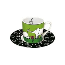 Espressotasse Tiergeschichten Elefanten Tasse Espresso Elefant Porzellan Tiermotiv Untersetzer