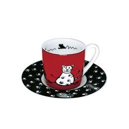 Espressotasse Tiergeschichten Katze Tiergeschichten Katze Espressotasse Untersetzer Unterteller