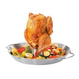 Hähnchengriller und Gemüse-Wok Edelstahl Hähnchen Grill Wok Grillkorb Grill-Korb Grillzubehör