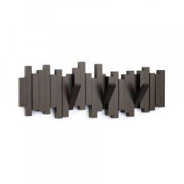 Hakenleiste Sticks dunkelbraun Garderobenleiste Multi Hook Espresso Garderobe Haken Mehrfachhaken
