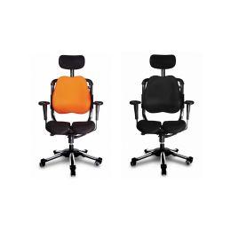 Harastuhl Bürostuhl ZEN schwarz o. orange Polyestergewebe ergonomische S-Form Chefsessel Schreibtischstuhl