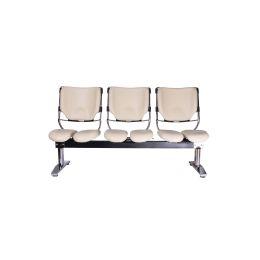 Harastuhl Dreisitzer LOB M-116 beige Kunstleder geteilte Sitzflächen Sitzbank Wartezimmer Wartebank
