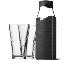 Karaffe 1 l mit Hülle und 2 Gläsern Wasserflasche Set Wasserkaraffe Wasser Glas