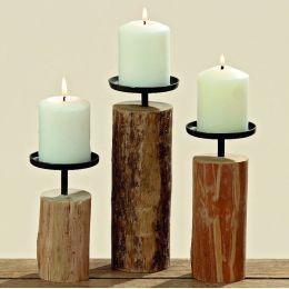 Kerzenleuchter Tempe 3er Set Kerzenständer Kerzenhalter Holz rustikal
