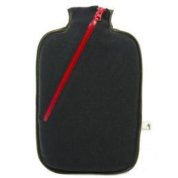 Ökologische Wärmflasche Softshell schwarz Wärmekissen mit Bezug biologisch Wärme-Therapie