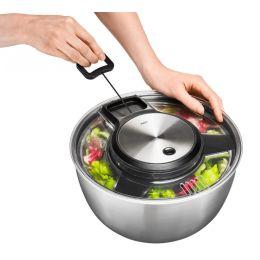 Salatschleuder Speedwing Edelstahl mit Seilzug Küchensieb Deckel Küchenhelfer Salatschüssel Set