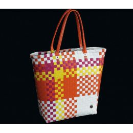 Shoppingbag Fashion orange Shopper Tasche Korbtasche Einkaufstasche groß Shoppingbag Flechttasche