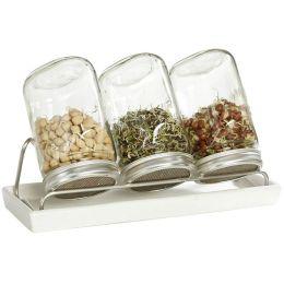 Sprossengläser Set mit Edelstahlgestell Sprossenglas Gewächshaus Keimglas Sprossenzucht Keimgerät