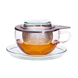 Tea Time S Teesieb Teetasse Untersetz Glas Edelstahl Set Dauerfilter Teeglas Sieb Deckel Unterteller