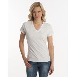 Damen T-Shirt Flash-Line, V-Neck, asche, Grösse 2XL