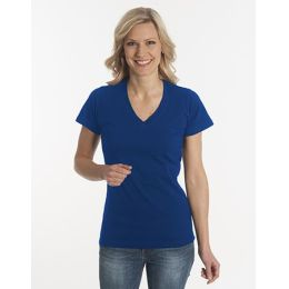 Damen T-Shirt Flash-Line, V-Neck, navy, Grösse 3XL