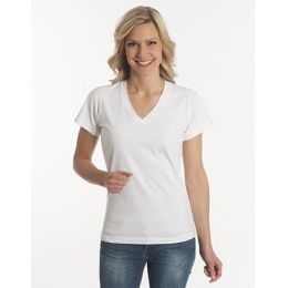 Damen T-Shirt Flash-Line, V-Neck, weiss, Grösse 3XL