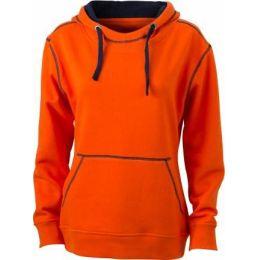 JN Ladie´s Lifestyle Zip-Hoody dark orange - navy , Grösse M