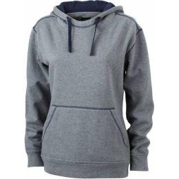 JN Ladie´s Lifestyle Zip-Hoody Grau melange - Navy, Grösse XL
